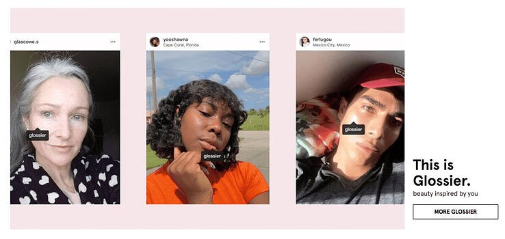 Glossier has customers and ambassadors feature in their ad campaigns