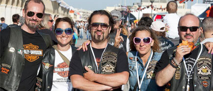 Group of Harley Davidson community members at a festival organized by the brand