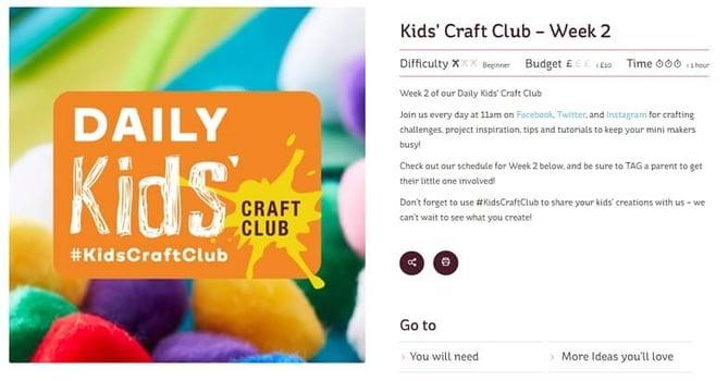 Hobbycraft hosts regular customer events for children