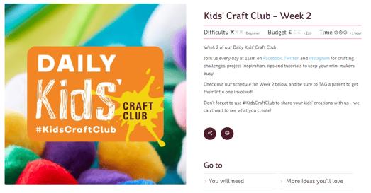 Hobbycraft kids craft club