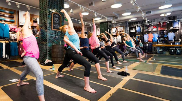 A Lululemon in-store workout class for its customers and advocates