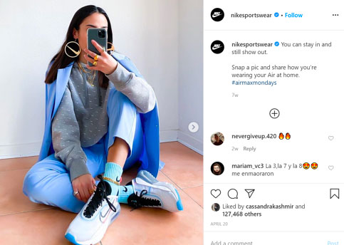 Nike generates customer UGC and content through constests and social media engagement.