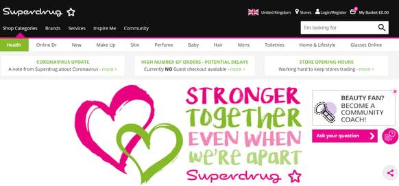 Superdrug website update